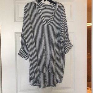 Tops - Trendy stripped half sleeve oversized shirt size S